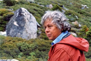 CAC Historian, Mrs. Verna Steele West on the trail to Eagle Lake, 1982.
